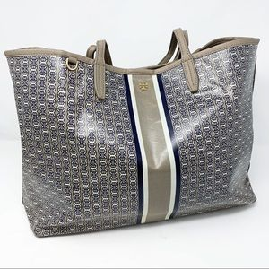 Tory Burch Gemini Link Tote Gray Coated Canvas